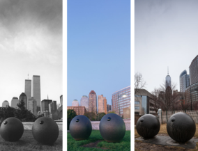 New York before and after - Busenskulptur